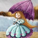 Princesse sous la pluie avec un parapluie