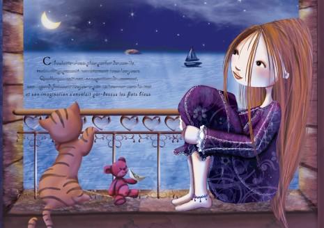 petite princesse avec son chat et son doudou qui regarde la mer