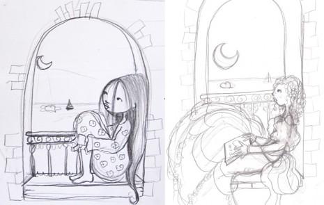 croquis de princesses rêveuses