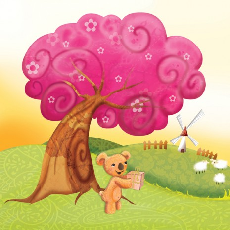 ourson qui offre un cadeau au pied d'un arbre rose