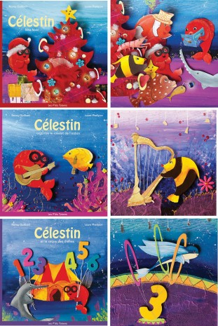 poisson rouge au cirque des chiffre et les instrument de musique et qui découvre noel