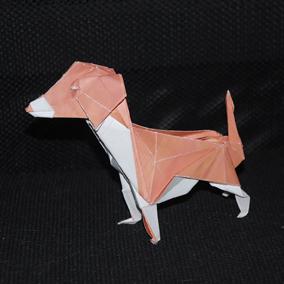 origami de chien réalisé par Samuel Mandonnaud