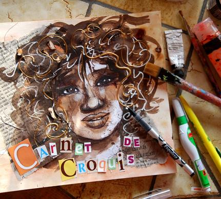 carnet de croquis - portrait de femme