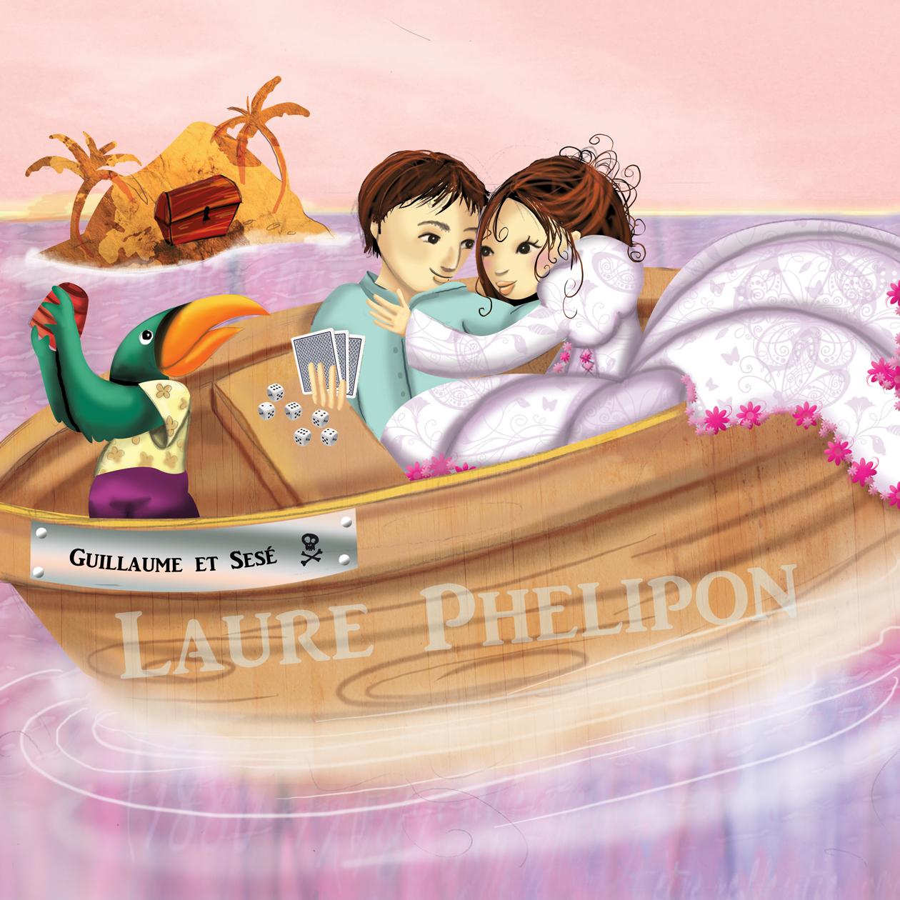 Illustration d'un faire-part de mariage exotique