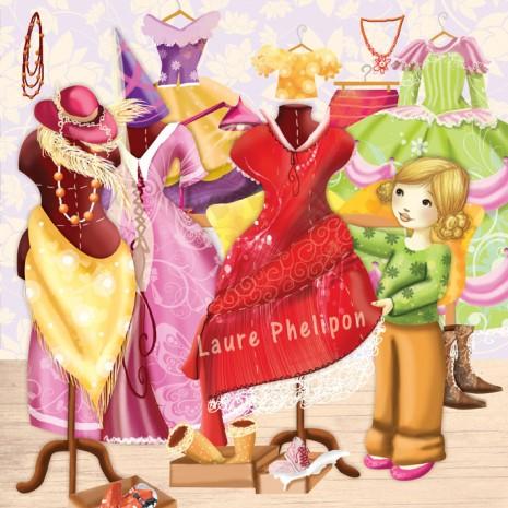 illustration de la petite fille dans une garde robe de princesse
