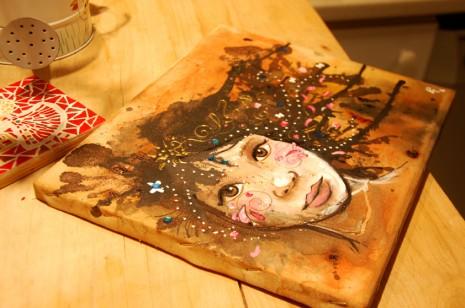 portrait de femme croquis et peinture