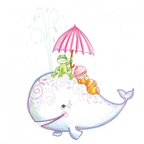 faire-part de naissance illustration grenouille et baleine