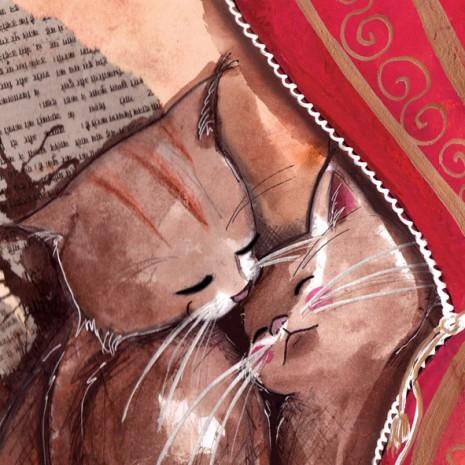 illustration et croquis de chats qui se font un calin