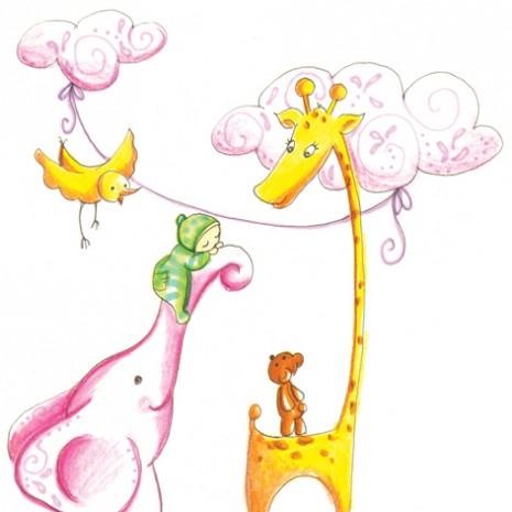 faire-part de naissance illustration girafe et éléphant