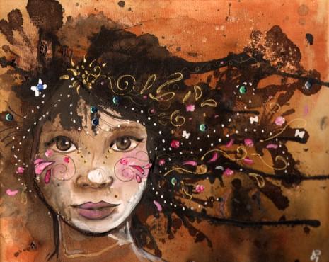 visage de femme sur toile - 26 x 30 cm