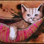 peinture sur toile, chat dans son hamac