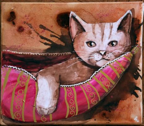 peinture sur toile de chat dans son hamac