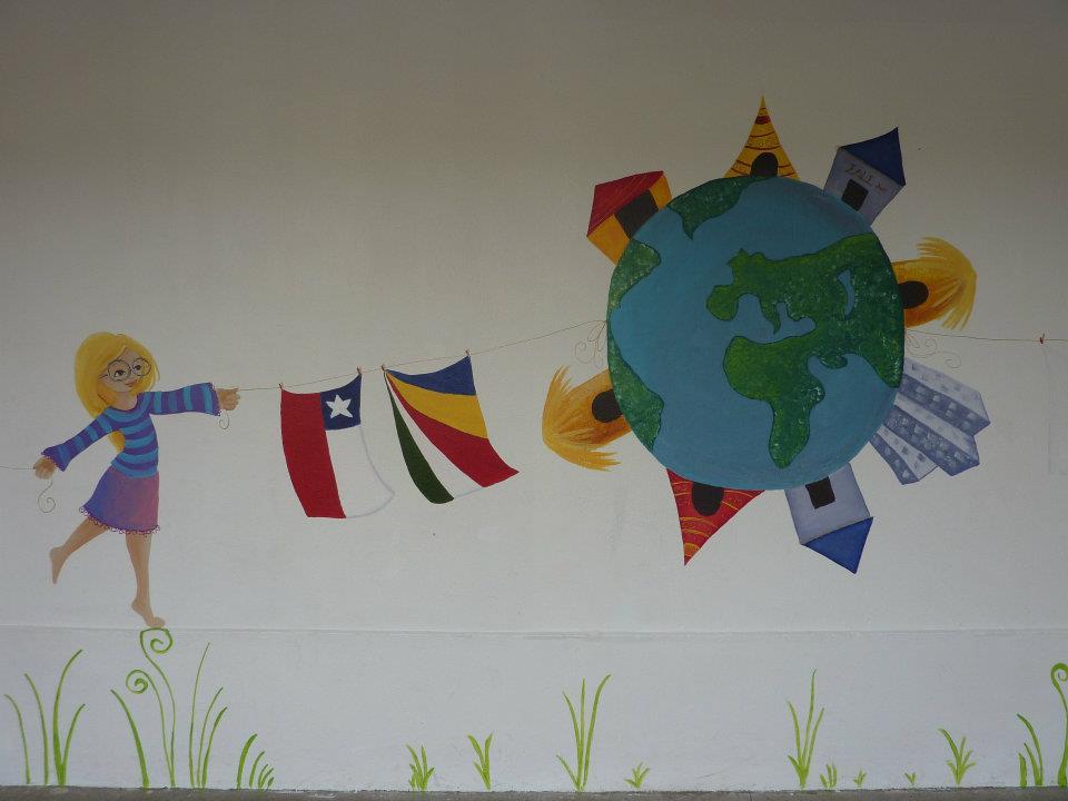 Fresque sur le thème enfants du monde