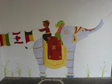 fresque éléphant indien