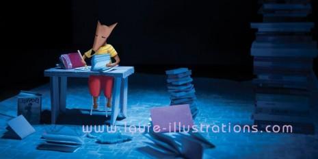 illustration du loup qui écrit une lettre assis derrière son bureau