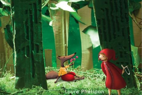 illustration en volume du petit chaperon rouge et du loup