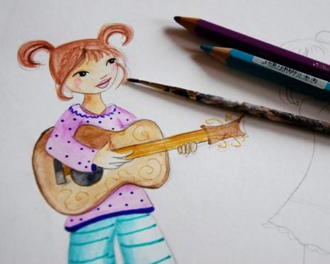 petite princesse qui joue de la guitare à l'aquarelle