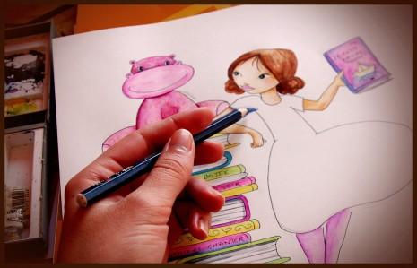 illustration en cours de mise en couleurs