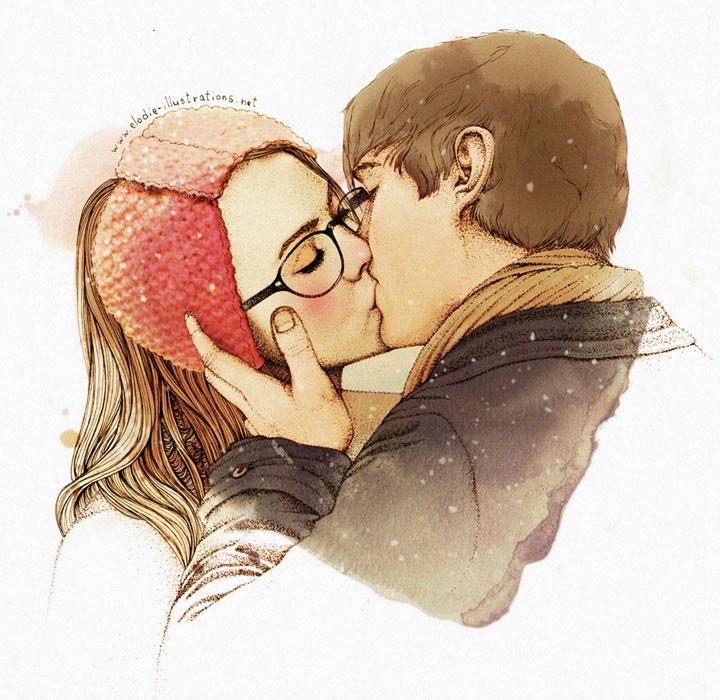 Image D Amoureux Qui S Embrasse peinture sur toile d'un baiser d'amour - ptit blog d'une