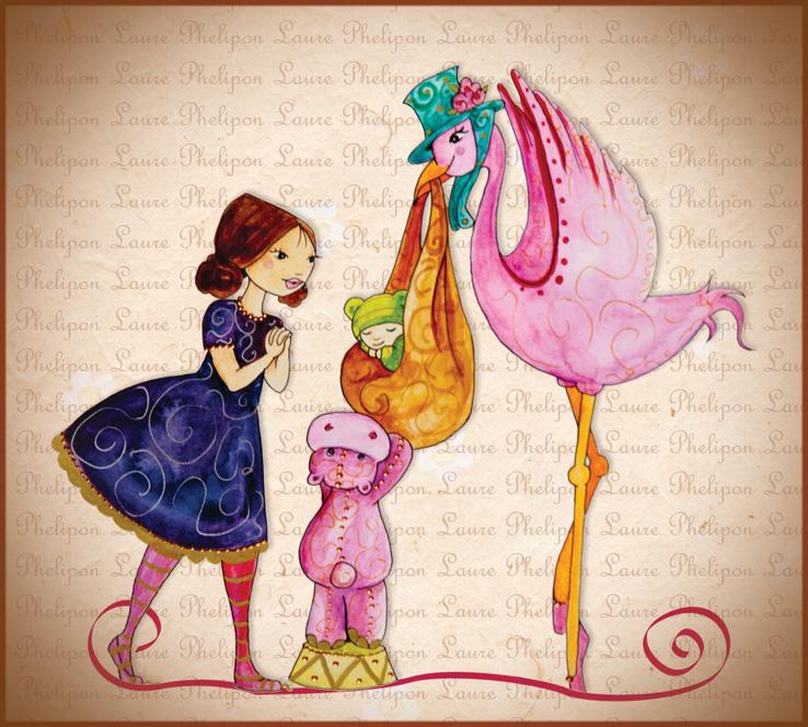 Faire-part de naissance avec une cigogne rose