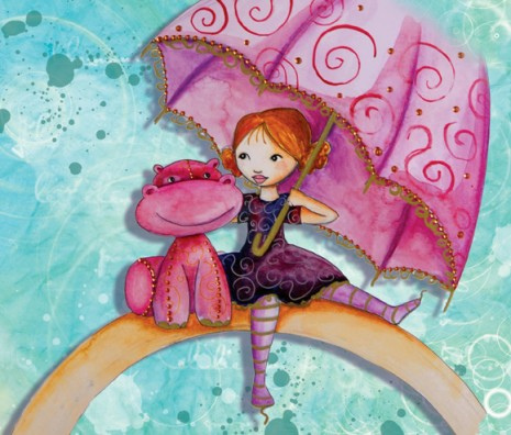 illustration enfant au parapluie