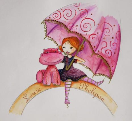 illustration aquraelle d'une petite princesse avec son hippopotame