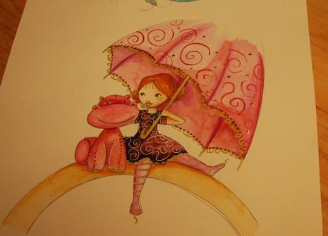 illustration d'une petite fille avec sa peluche hippopotame sous un parapluie