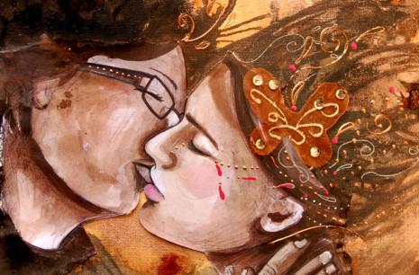 peinture sur toile d'un couple d'amoureux qui s'embrasse