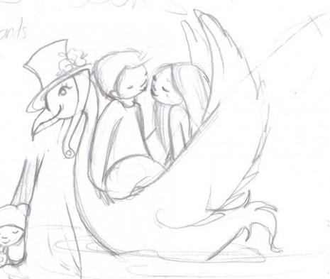 croquis d'amoureux sur un cygne