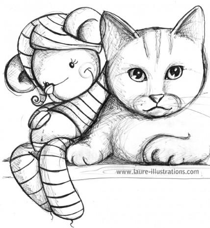 croquis de chats et de doudous