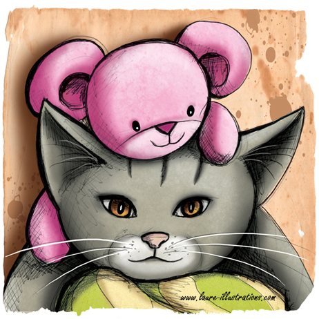 ILLUSTRATION DE CHATS AVEC UN DOUDOU LAPIN