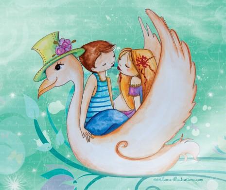 illustration d'amoureux sur un cygne