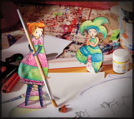 illustration d'une petite fille qui passe le balai