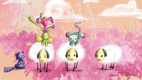 Des illustrations de doudou qui jouent à saute-mouton