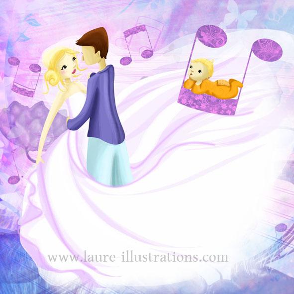 Illustration romantique pour un faire-part de mariage