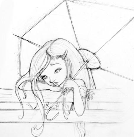 croquis femme à l'ombrelle format carte postale