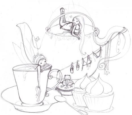 croquis l'heure du thé chez les fée