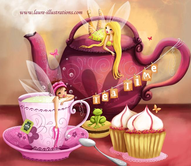 Mon illustration, l'heure du thé chez les fées