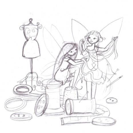 croquis des fées à la couture