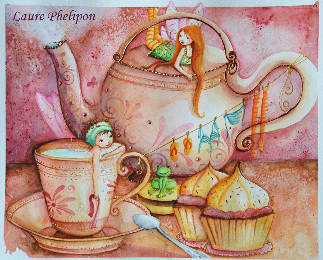 Fairy Tea-time à l'aquarelle