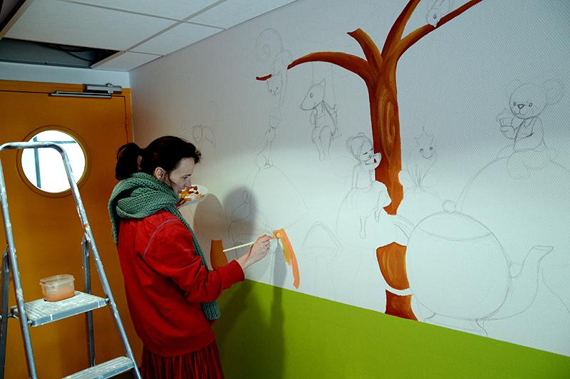 fresque murale pour enfants dans une cantine ptit blog d 39 une illustratrice jeunesse. Black Bedroom Furniture Sets. Home Design Ideas