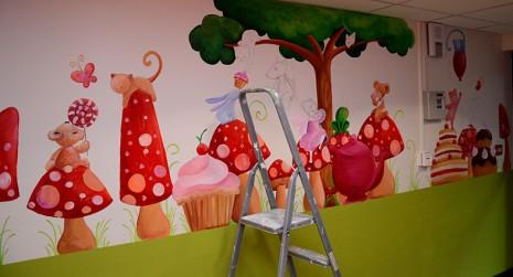 fresque dans la cantine des enfants