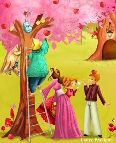 illustration de la famille royale dans ses jardins