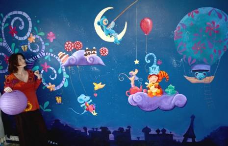 Fresque doudous pour une chambre d'enfant