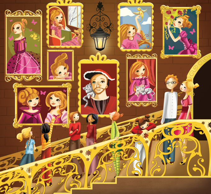 Fresque en détail et illustration magazine disney girl