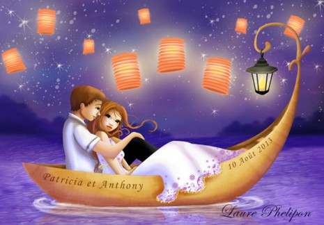 faire-part mariage amoureux dans une barque