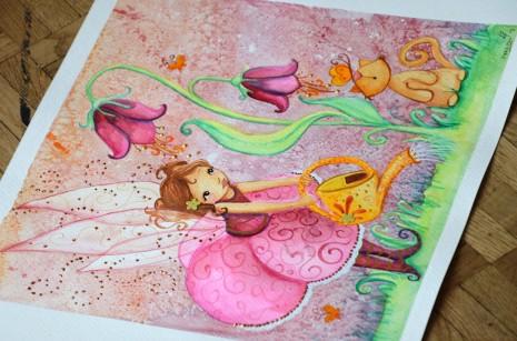 aquarelle de fée qui arrose une fleur