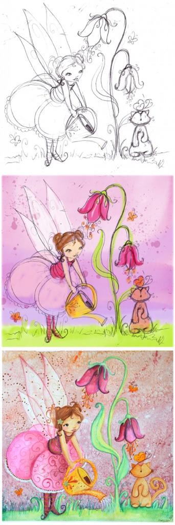aquarelle pour une commande personnalisée de fée qui arrose une fleur