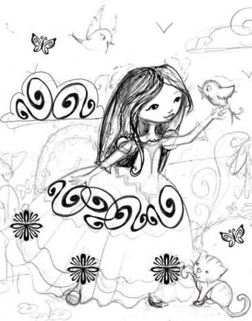 illustration croquis petite princesse