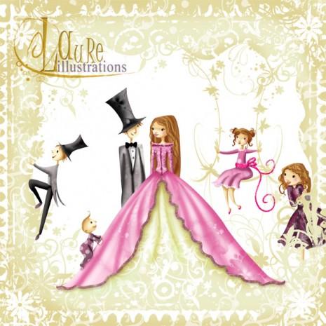 Une illustration en dentelle pour un faire-part original de mariage